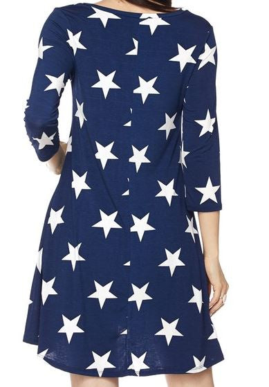 PRETTY STARS DRESS IN NAVY BLUE [product vendor] - Life is Chic Boutique