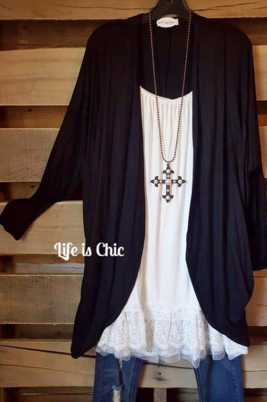 PLAIN & CLASSY CARDIGAN IN BLACK [product vendor] - Life is Chic Boutique