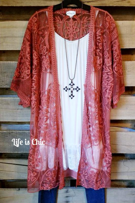 LA DOLCE VITA LACE EMBROIDERED CARDIGAN IN BURNT ORANGE [product vendor] - Life is Chic Boutique