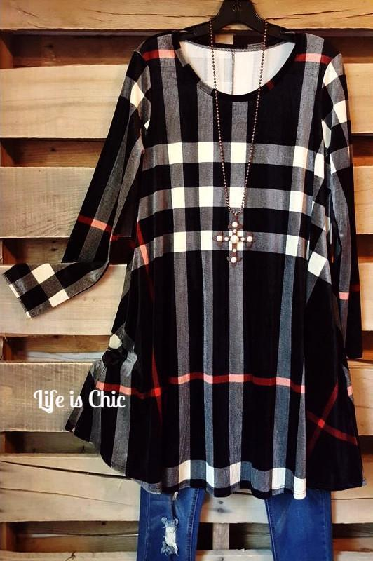 WALK THE LINE PLAID DRESS - BLACK [product vendor] - Life is Chic Boutique