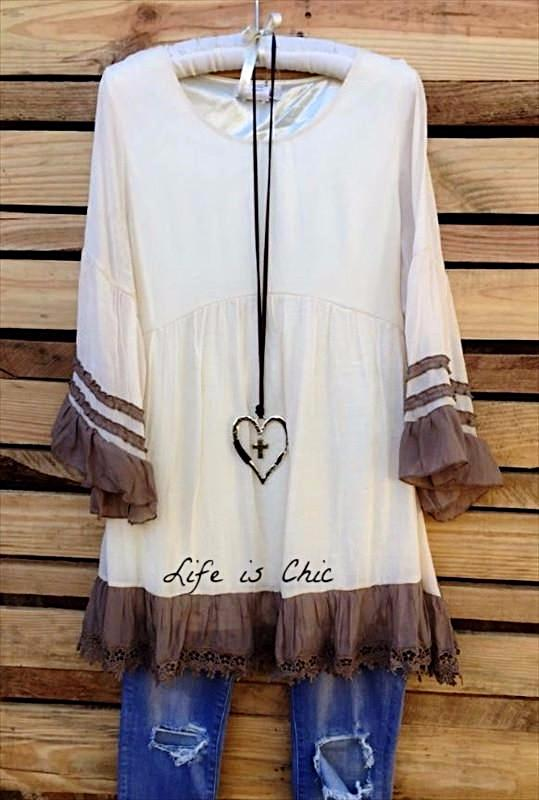 BOHEMIA WINDS TUNIC IN BEIGE & MOCHA [product vendor] - Life is Chic Boutique