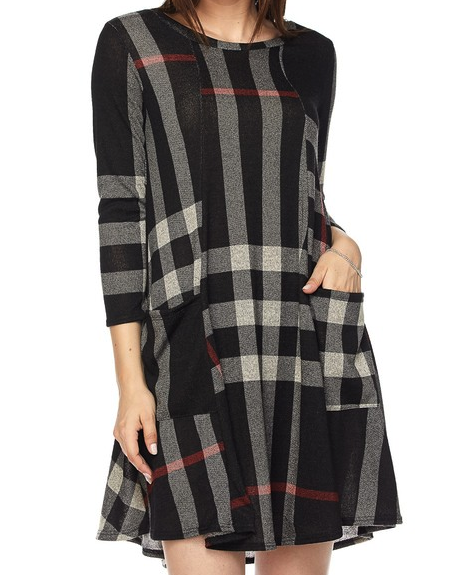 WALK THE LINE PLAID DRESS FRONT POCKET PATCH BLACK MULTI