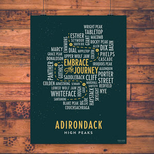 Vintage Print | ADK 46 High Peaks (Green) - Pure Adirondacks