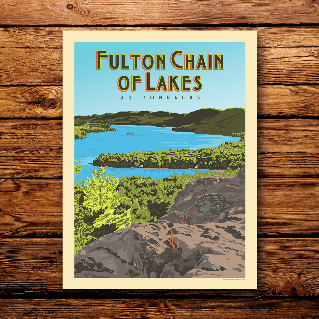 Vintage Poster | Fulton Chain of Lakes - Pure Adirondacks