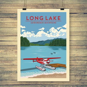 Vintage Poster | Long Lake - Pure Adirondacks
