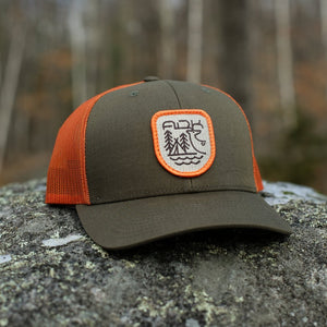Backwoods Snapback |  Military Green/Orange - Pure Adirondacks