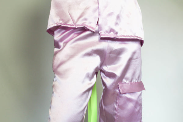 LIGHT PINK SATIN blouse and trousers
