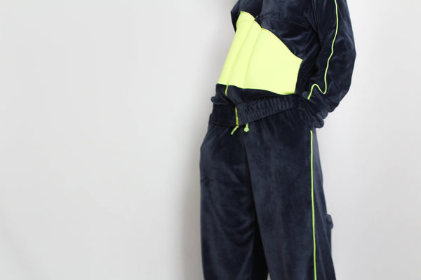TRACKSUIT navy/neon vest and trousers