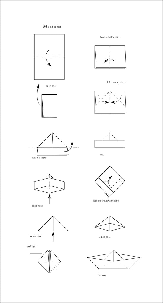 Stamped paper boat felicette use this diagram to guide you on folding your boats finished paper boat malvernweather Images