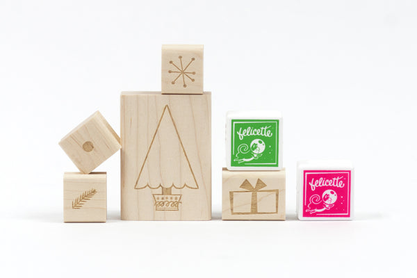 Christmas Tree Decorating Rubber Stamp Kit