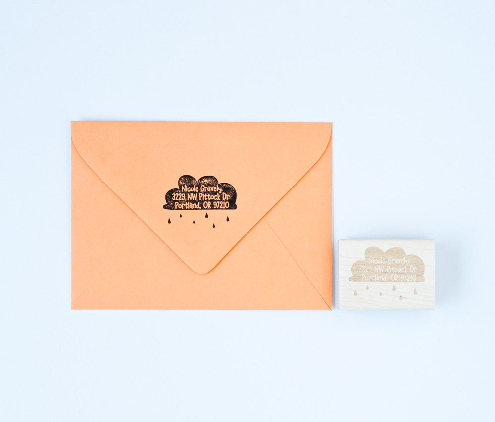Rain Cloud Address Stamp