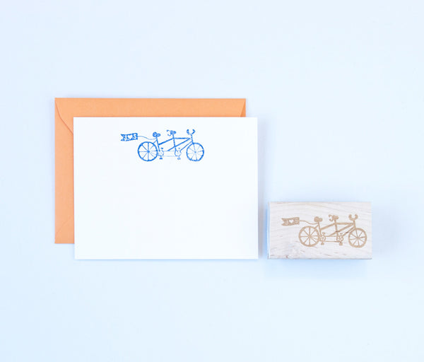 Tandem Bicycle Stamp With Personalized Flag