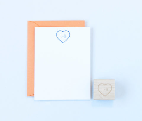 Heart & Initials Outline Stamp