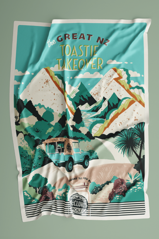 The Great NZ Toastie Takeover Tea Towel presented by McClure's Pickles