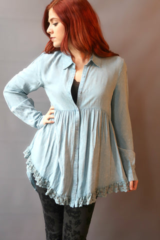High Low Button Up with Laced Detail Swing Top Blue