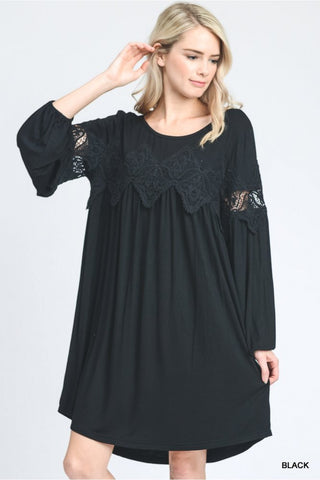 Bohemian Style Black Mini Dress/Tunic with Lace Trim