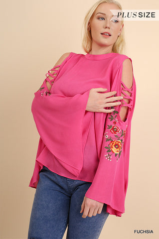 PLUS Floral Embroidered Bell Sleeve w/Crisscross Sleeve Cutouts Fuchsia