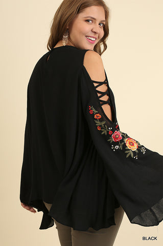 PLUS Floral Embroidered Bell Sleeve w/Crisscross Sleeve Cutouts Black