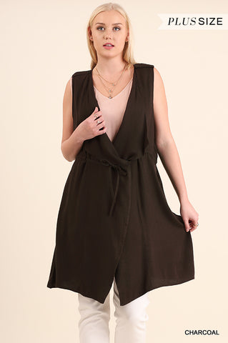 PLUS Sleeveless Open Front Vest With Drawstring in CHARCOAL