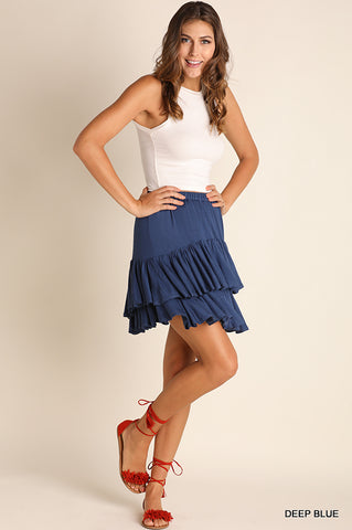 Deep Blue Ruffle Skirt