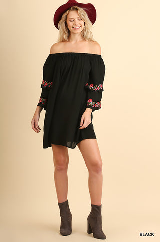 Off Shoulder Dress/Tunic with Floral Embroidery & Layered Bell Sleeves BLACK