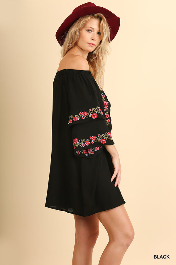 36cd1567ccb89e ... Off Shoulder Dress/Tunic with Floral Embroidery & Layered Bell Sleeves  BLACK