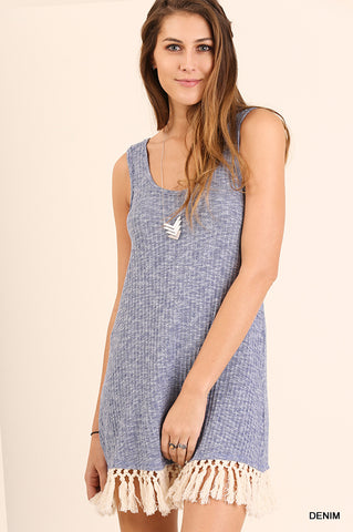 Sleeveless knit dress with fringe bottom (Denim blue in color)