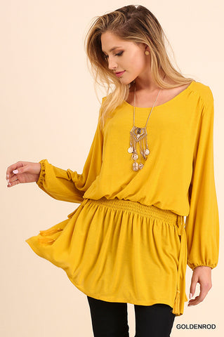 Relaxed Fit L/S Tunic with cinched waist detail. Goldenrod