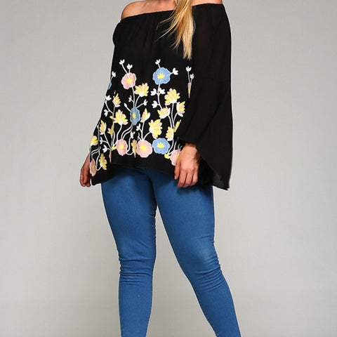 PLUS Black Embroidered Off-Shoulder Blouse