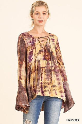 PLUS Tie Dye Bell Sleeve Top with Drawstring Neckline