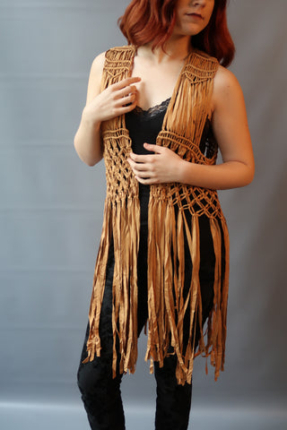 Tan String Fringe Beaded Vest
