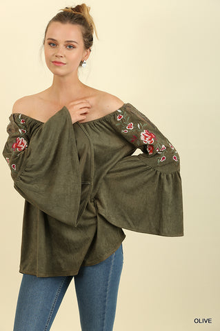 Suede Off Shoulder Bell Sleeve Top with Floral Embroidery and Lace Trim OLIVE