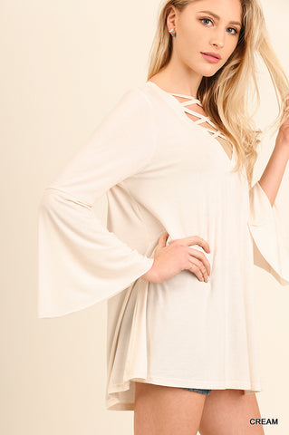Bell Sleeved Top with crossed front and back - Cream Color