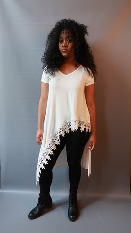 White Asymmetric top with lace trim. Also available in black & tan