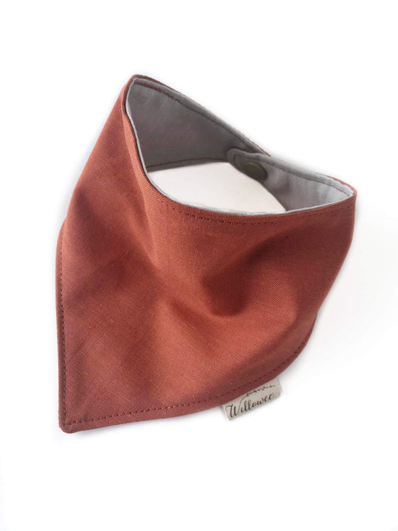 Reversible Two Tone Organic Cotton Bandana Bib / Terra Cotta