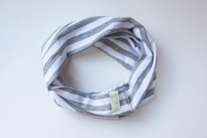 Gray Stripe Circle Scarf