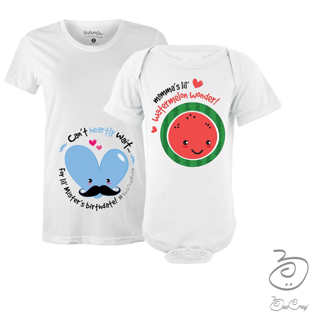 Bae Cray Pregnancy Milestones Gender Reveal  BOY- Maternity T-Shirt Bundle