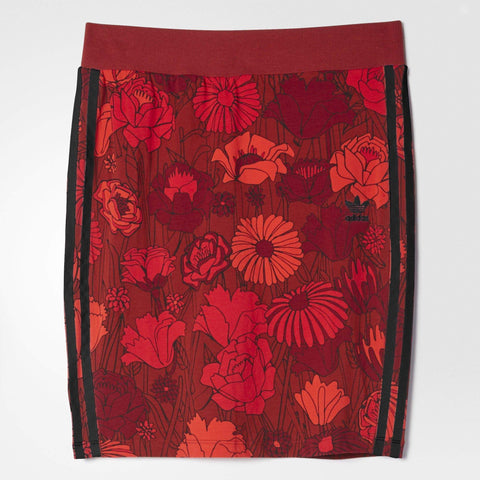 adidas Originals Womens Red Floral Midi Skirt