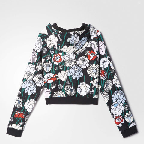 adidas Originals Womens Cropped Floral Hoodie