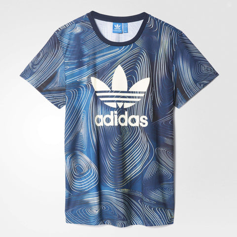 adidas Originals Womens Blue Geology Boyfriend Tee