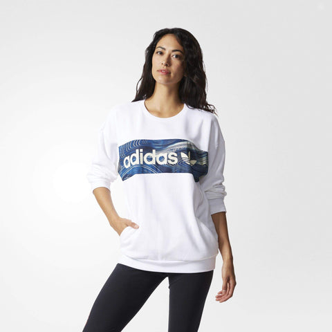 adidas Originals Womens Blue Geology Crew Sweatshirt