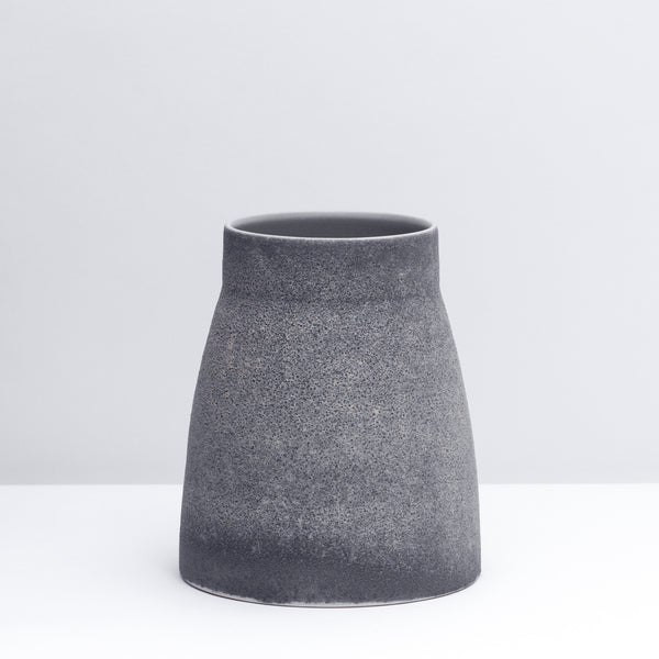 Canteen No. 1 Standard is a hand-thrown porcelain Vase in our Lava glaze.  Use a utensil crock or style with flowers.  Handmade modern pottery. USA made ceramics and unique gifts.