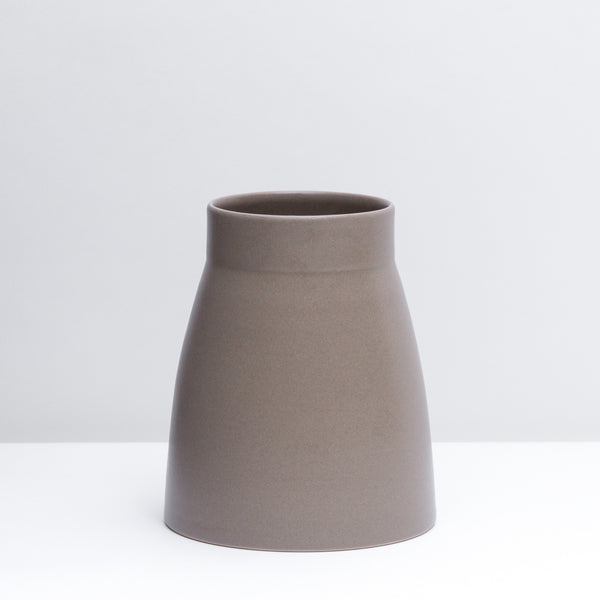 Canteen No. 1 Standard is a hand-thrown porcelain Vase in our Mushroom glaze.  Use as a utensil crock or style with flowers.  Handmade modern pottery. USA made ceramics and unique gifts. Taupe pottery.
