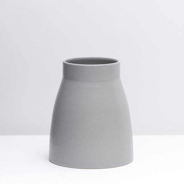 Canteen No. 1 Standard is a hand-thrown porcelain Vase in our Pewter grey glaze.  Use a utensil crock or style with flowers.  Handmade modern pottery. USA made ceramics and unique gifts. Grey pottery.