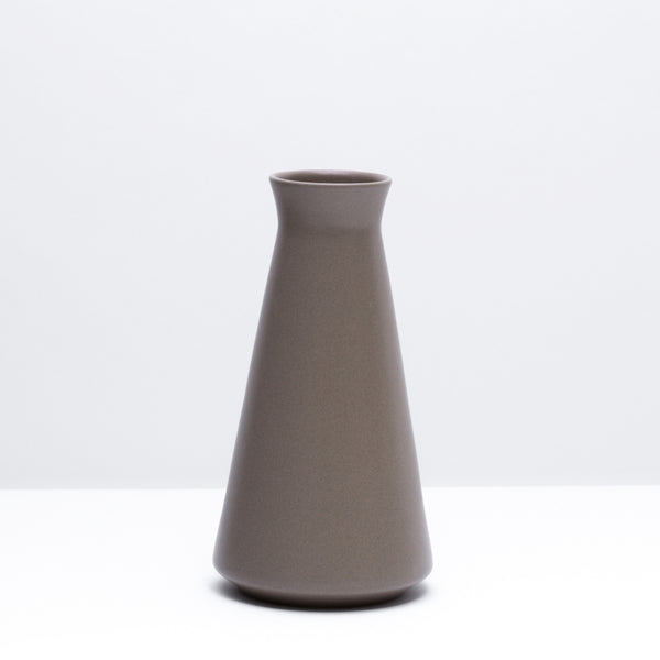 The porcelain wine decanter in Mushroom, our taupe glaze. Modern, handmade pottery, made in Detroit, Michigan.  USA Made pottery and unique gifts. Taupe pottery.