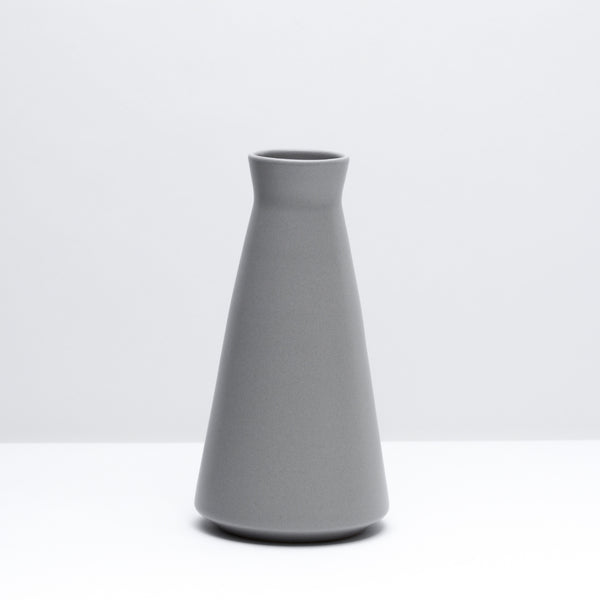 The porcelain wine decanter in Pewter, our grey glaze. Modern, handmade pottery, made in Detroit, Michigan.  USA Made pottery and unique gifts. Grey pottery.