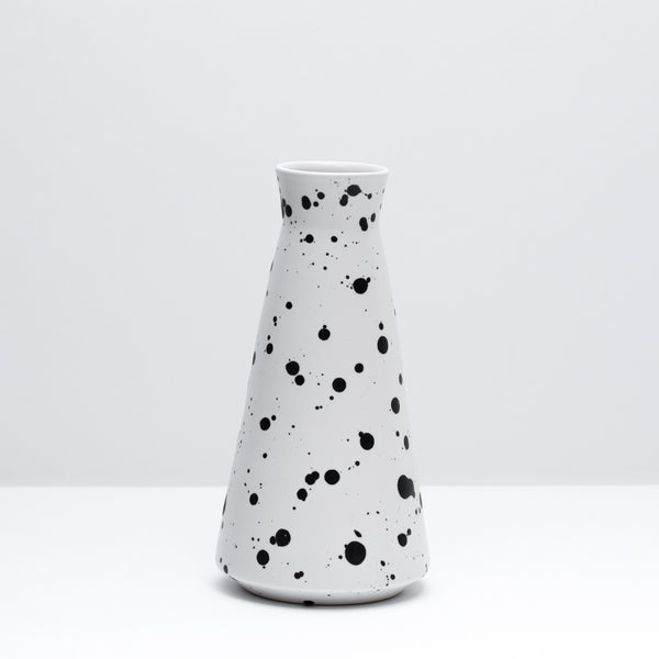 The porcelain decanter in Splash, our mid-century inspired black and white glaze. Modern, handmade pottery, made in Detroit, Michigan.  USA Made ceramics and unique gifts. Black and white pottery.