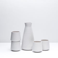 Porcelain Wine Set including four wine cups and one decanter in Freckle, our speckled mid-century inspired glaze. Modern, handmade pottery, made in Detroit, Michigan.  USA handmade and unique gifts