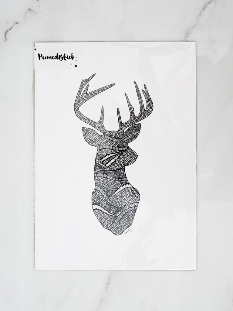 Penned Black 'Deer' Drawing Print
