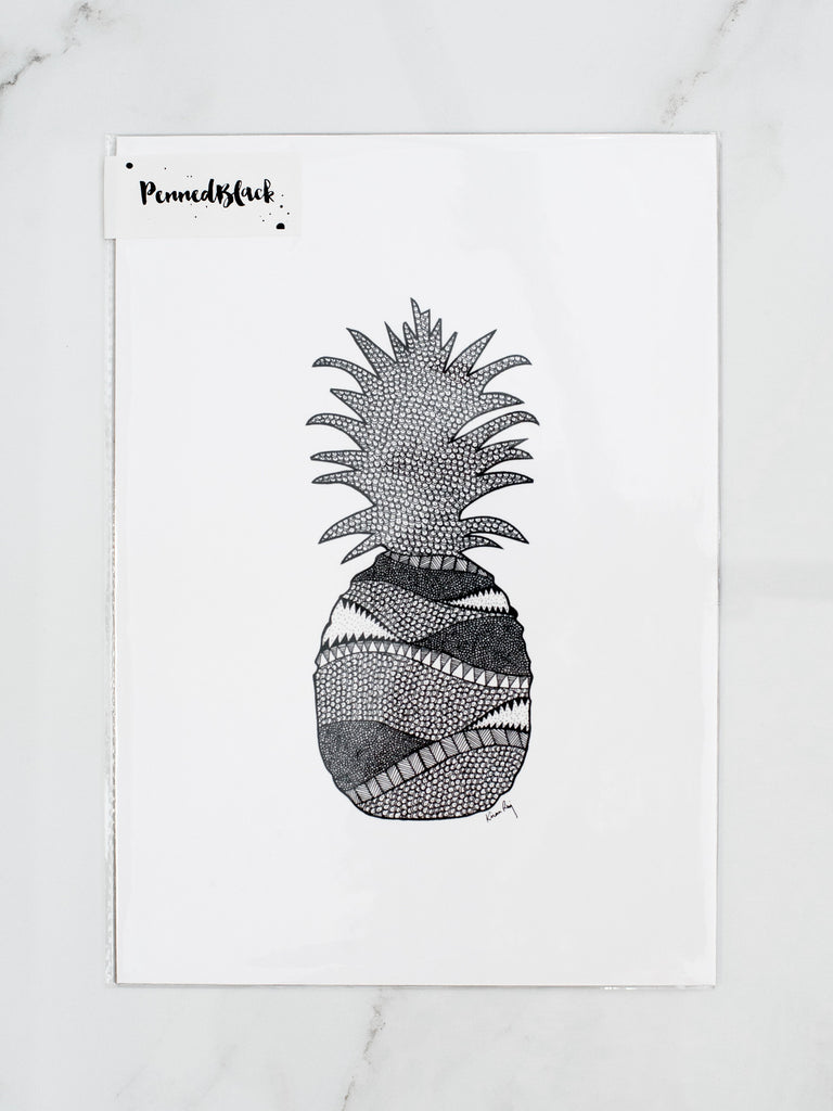 Penned Black 'Pineapple' Drawing Print